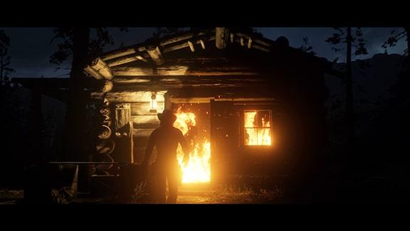 エヴェリンの山小屋が燃えるシーン