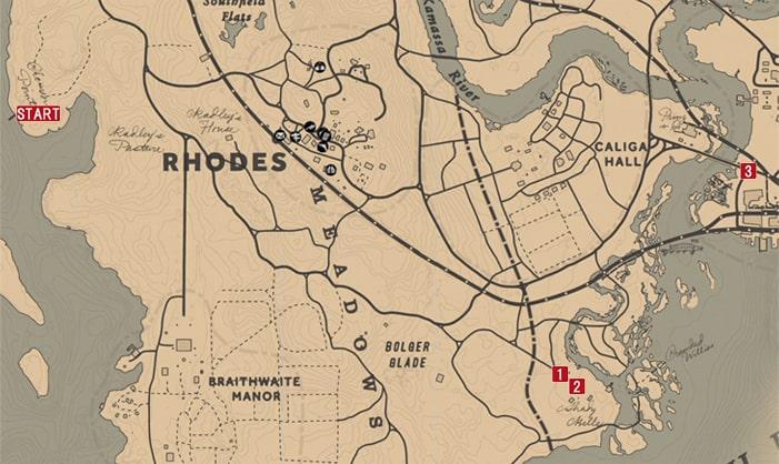 レッドデッドリデンプション2のシェイディベルの戦いのミッションの攻略マップ