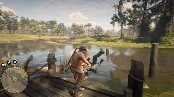 死体を担いで桟橋の沼地に捨てるシーン
