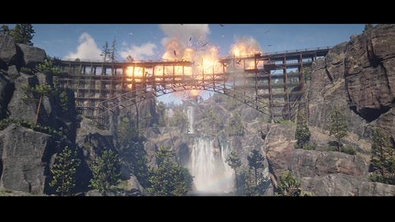ダイナマイトでバッカス橋を爆破するカットシーン