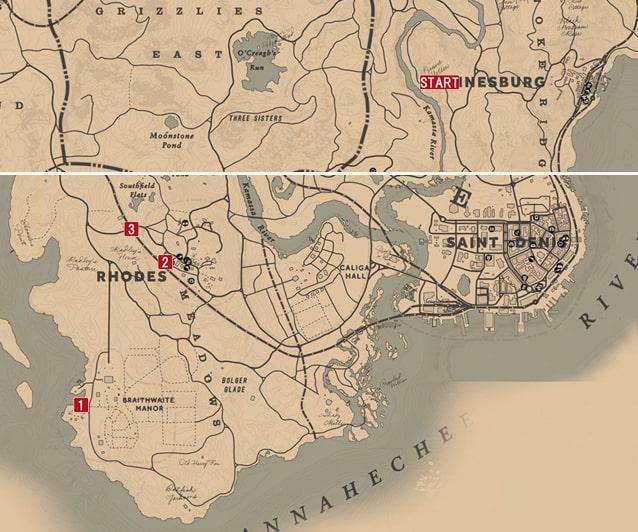 レッドデッドリデンプション2の純愛の成り行き4・5のミッションの攻略マップ