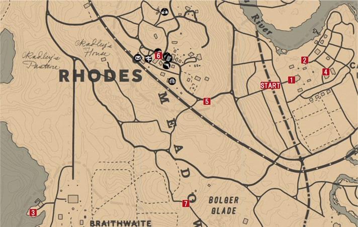 レッドデッドリデンプション2の純愛の成り行き1~3のミッションの攻略マップ