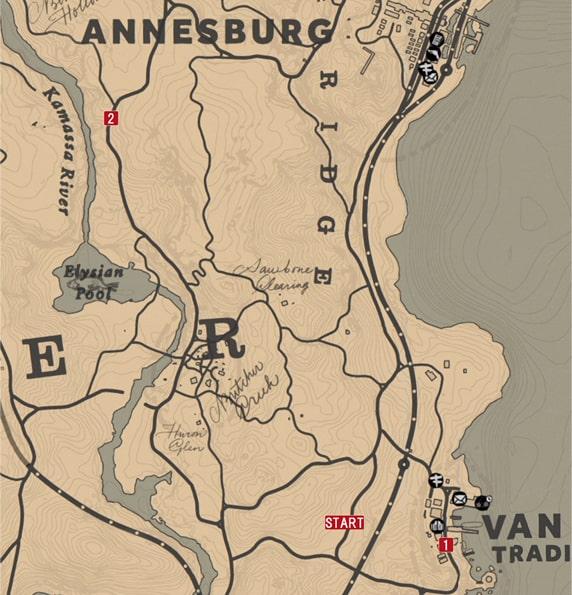 レッドデッドリデンプション2の素晴らしきヴァンホーンのミッションの攻略マップ