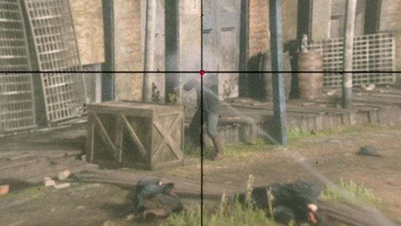 スナイパーライフルで狙撃する画像
