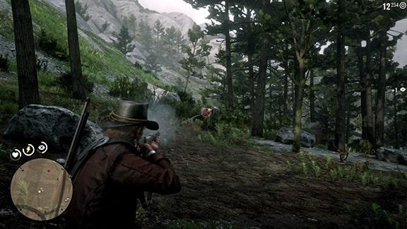 モンロー大尉を守る、森でのバトルシーンの様子