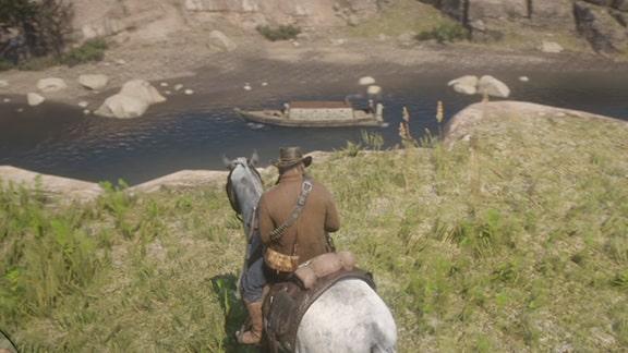 川に浮かぶボートを発見するアーサー