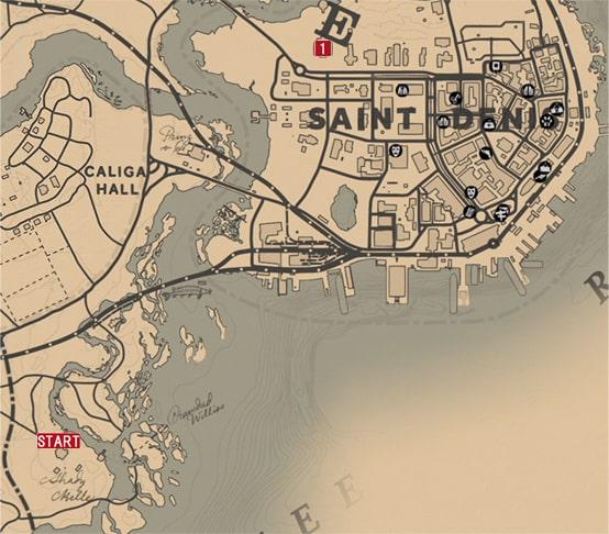 レッドデッドリデンプション2の黄金の檻のミッションの攻略マップ
