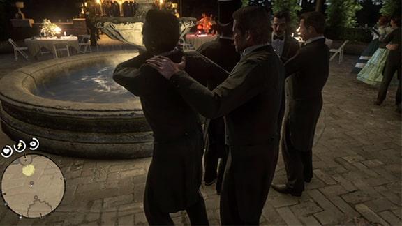 アーサーが酔っ払いを市長から引き離すシーン