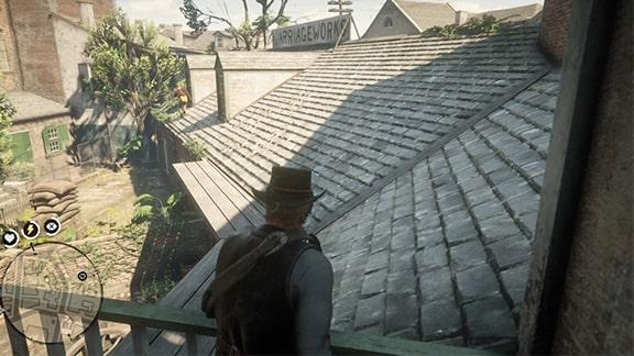ガキを追いかけるアーサーの屋根上の風景