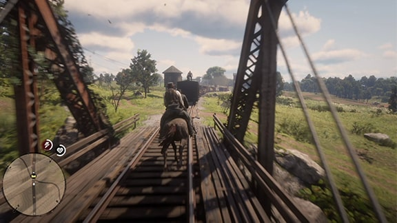列車を追いかけるアーサー