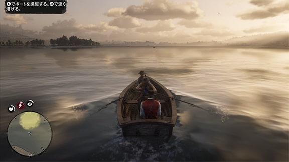 手漕ぎボートで釣り場へ向かうシーン