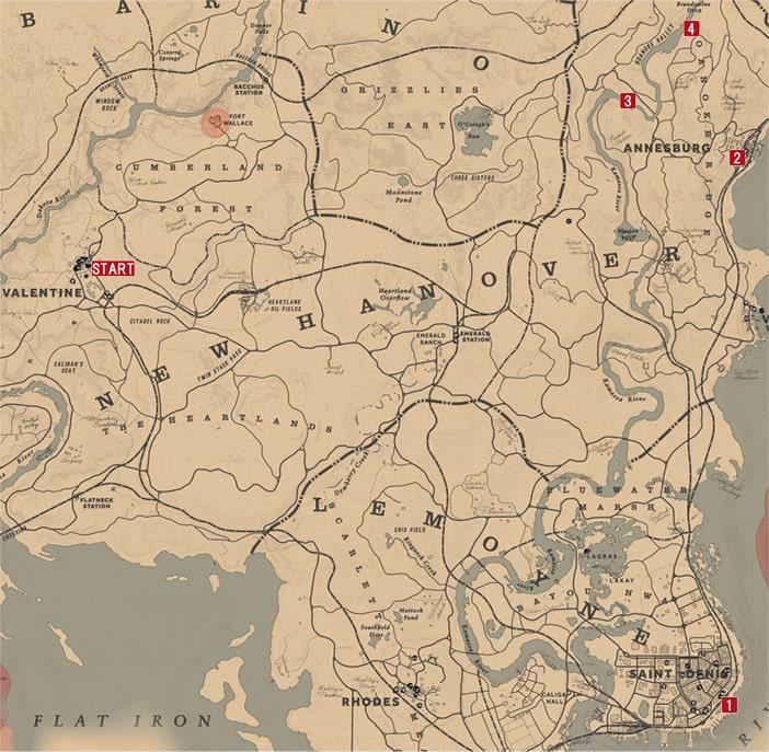 最も善なる男と一人の女2~4の発生場所のマップ