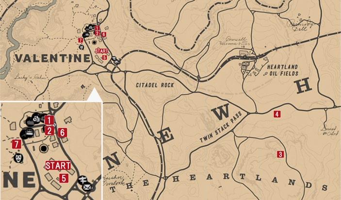 レッドデッドリデンプション2の山羊と羊のミッションの攻略マップ