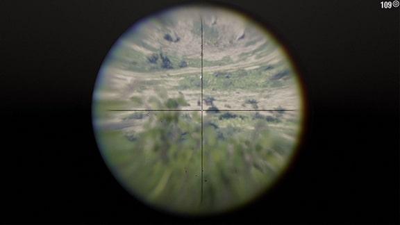 ローリングブロック式ライフルで牧場労働者を狙うスコープ画像