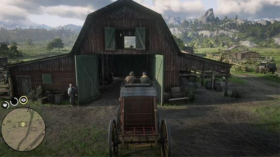 駅馬車をエメラルド牧場へ届けるシーン