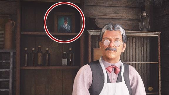 雑貨屋に飾られている謎の男の絵の画像