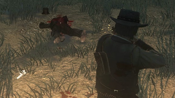 RDR1で謎の男を撃ち殺すシーン