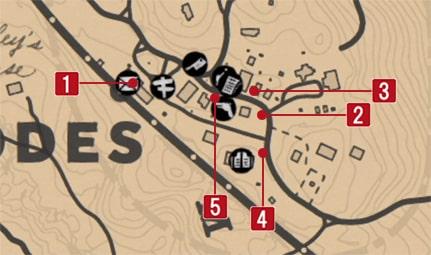 ローズにある手配書の場所のマップ
