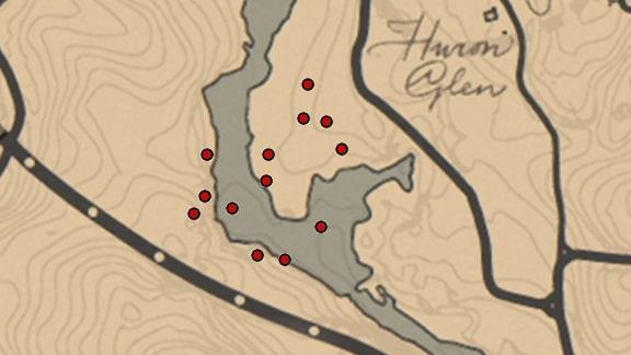 呪いのチャームの場所のマップ