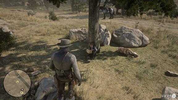 ミッションを開始できるジョンの牧場にいるジャック