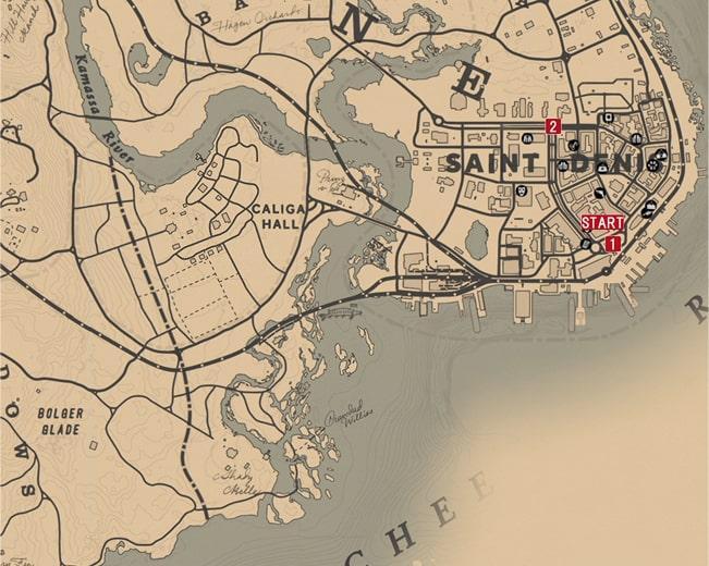 レッドデッドリデンプション2の都会の楽しみのミッションの攻略マップ