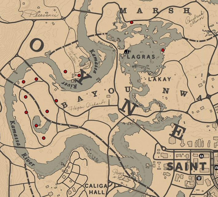 バニラの花の入手場所のマップ