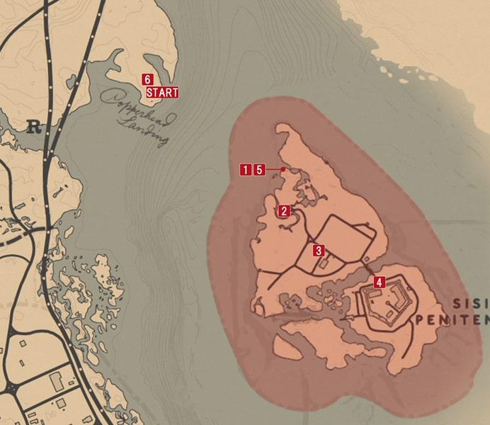レッドデッドリデンプション2の面会時間のミッションの攻略マップ