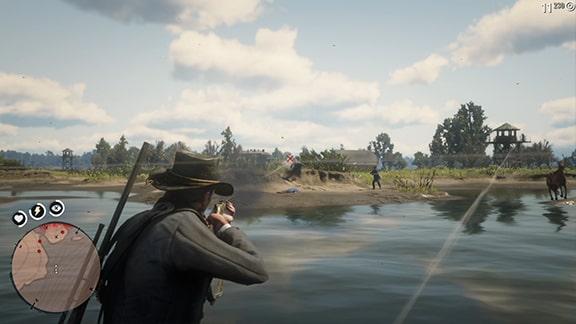 正門での見張りとの銃撃戦シーン