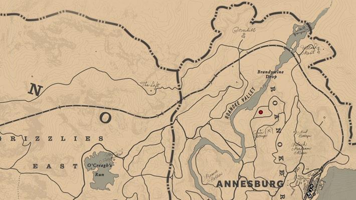 ロアノークリッジの森のささやきの場所マップ
