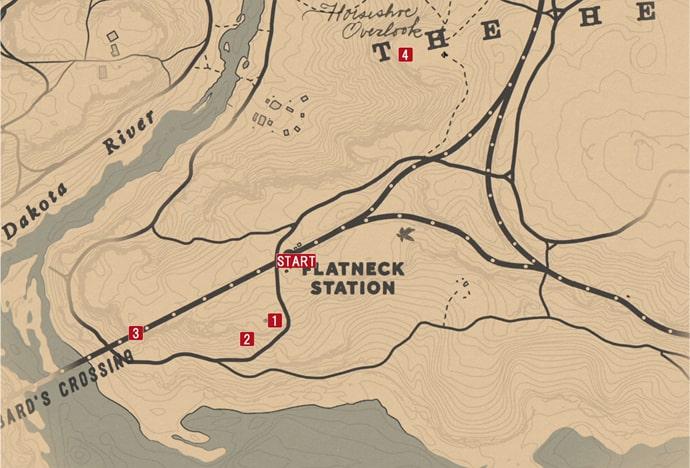 レッドデッドリデンプション2の罪なき者は石を投げたまえのミッションの攻略マップ