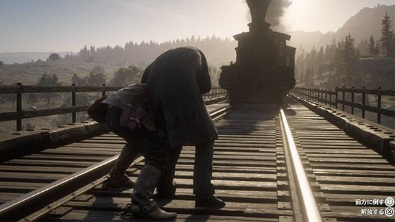 鉄道でスワンソン牧師を救出するシーン
