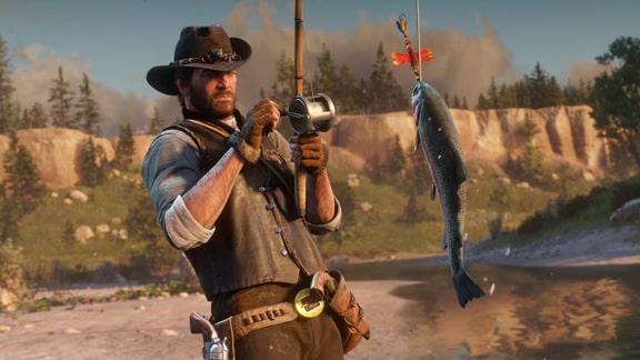 レッドデッドリデンプション2で釣りをしている様子の画像