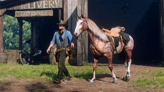 Red Dead Redemption 2で馬と散歩している画像
