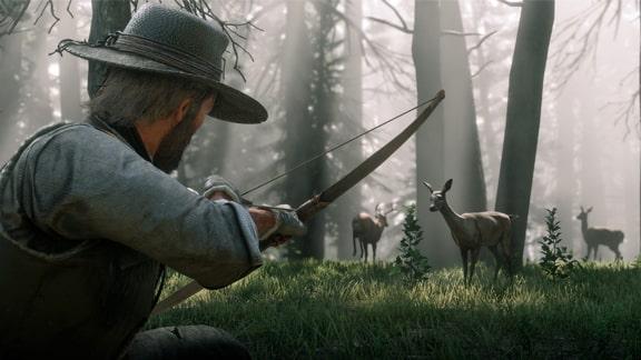 弓で狩りをしてる画像