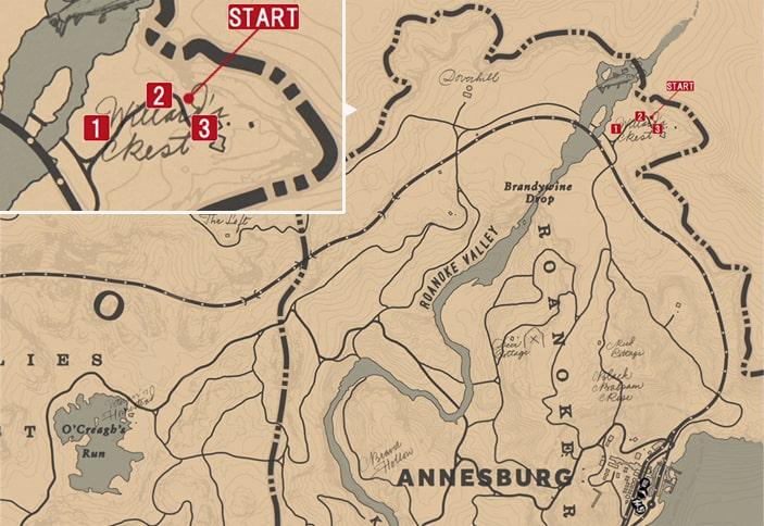 シャーロット(Willard's Rest)の発生場所のマップ