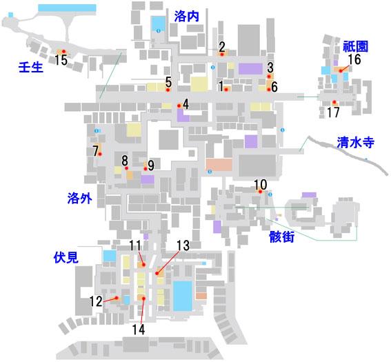飲食店の場所情報のマップ