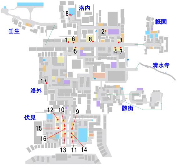 販売店の場所情報のマップ