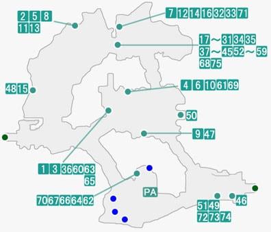 イースト・トレクールで発生するプライベートアクションのマップ