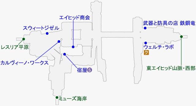 ミードックで発生するクエストのマップ