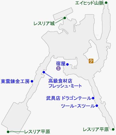 中央レスリアで発生するクエストのマップ