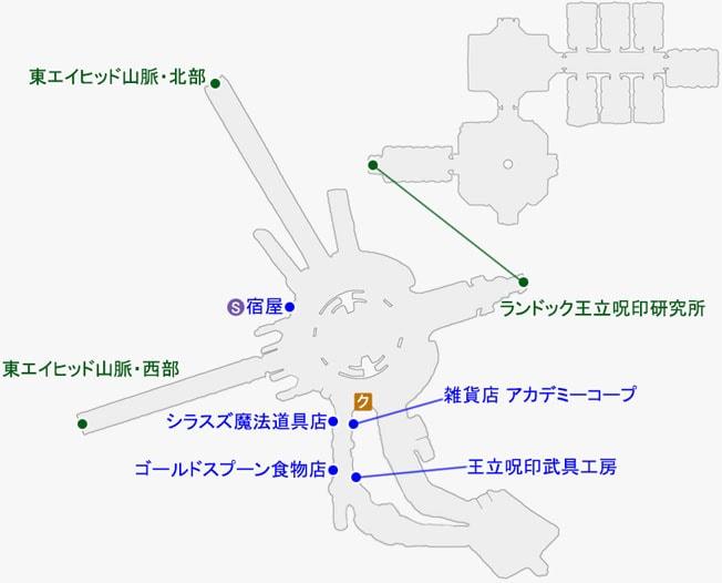 サンテロールで発生するクエストのマップ
