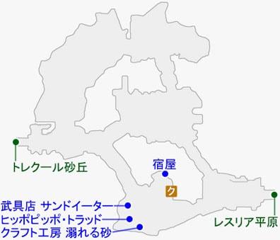 イースト・トレクールで発生するクエストのマップ