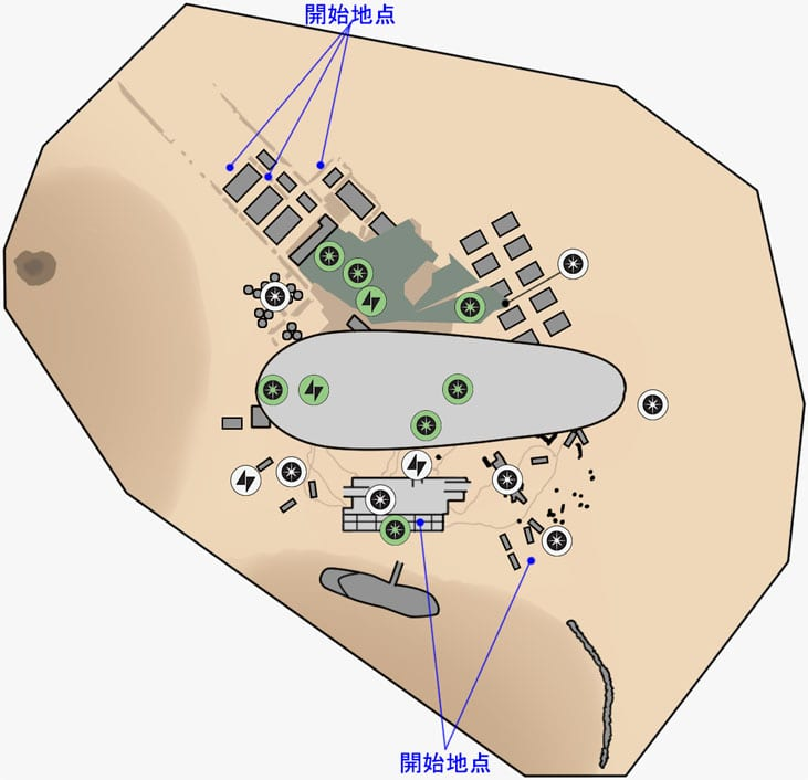 ブラストのデューン・シーの取引所のマップ