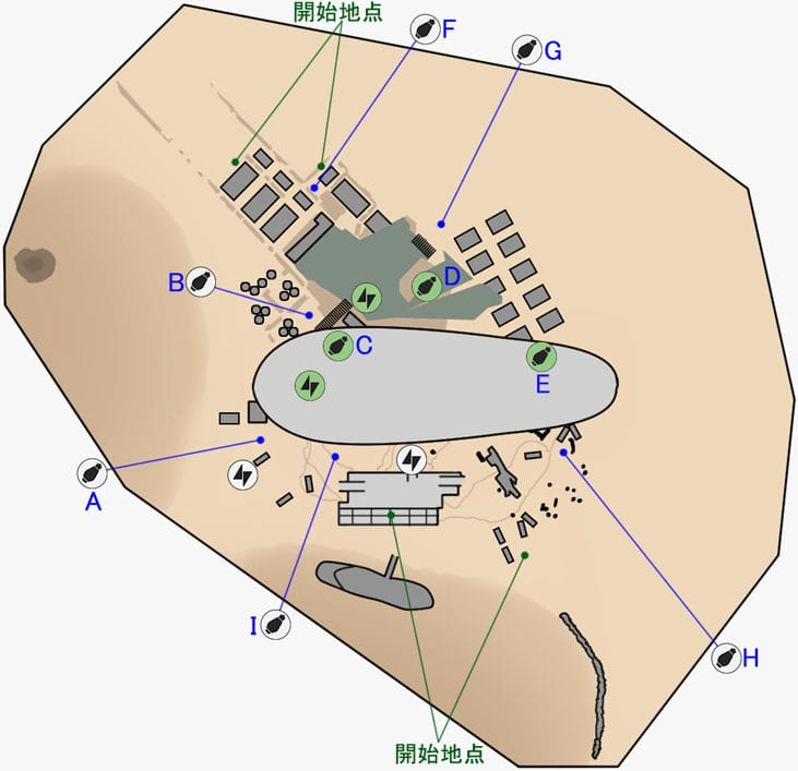 ドロップゾーンのデューン・シーの取引所のマップ