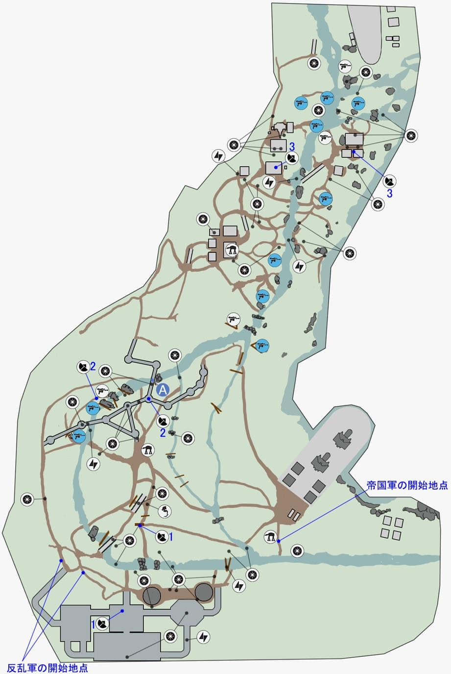 ウォーカー・アサルトの緑の月エンドアのマップ