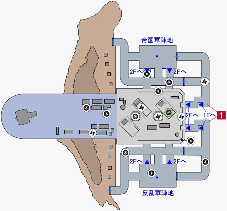 カーゴの帝国軍ハンガーのマップ