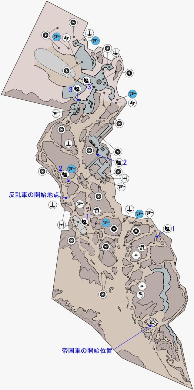 ウォーカー・アサルトのジャンドランド荒野のマップ