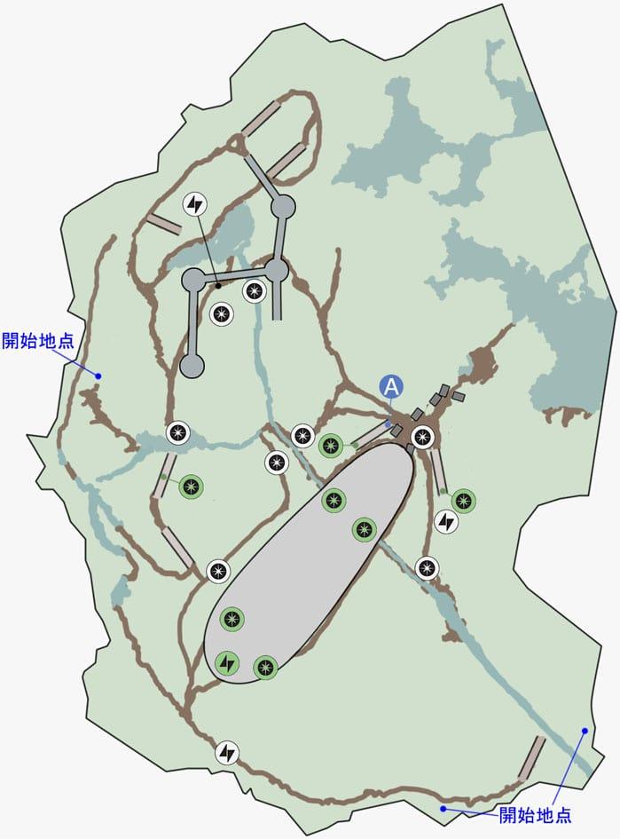 ブラストの湿地帯の墜落地点のマップ