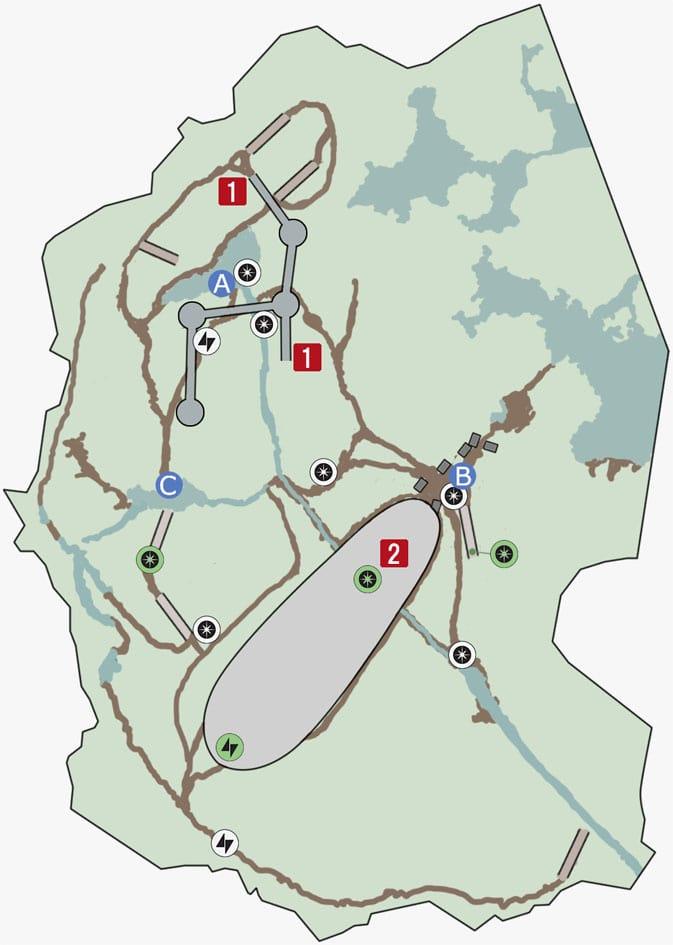 ドロイドランの湿地帯の墜落地点のマップ