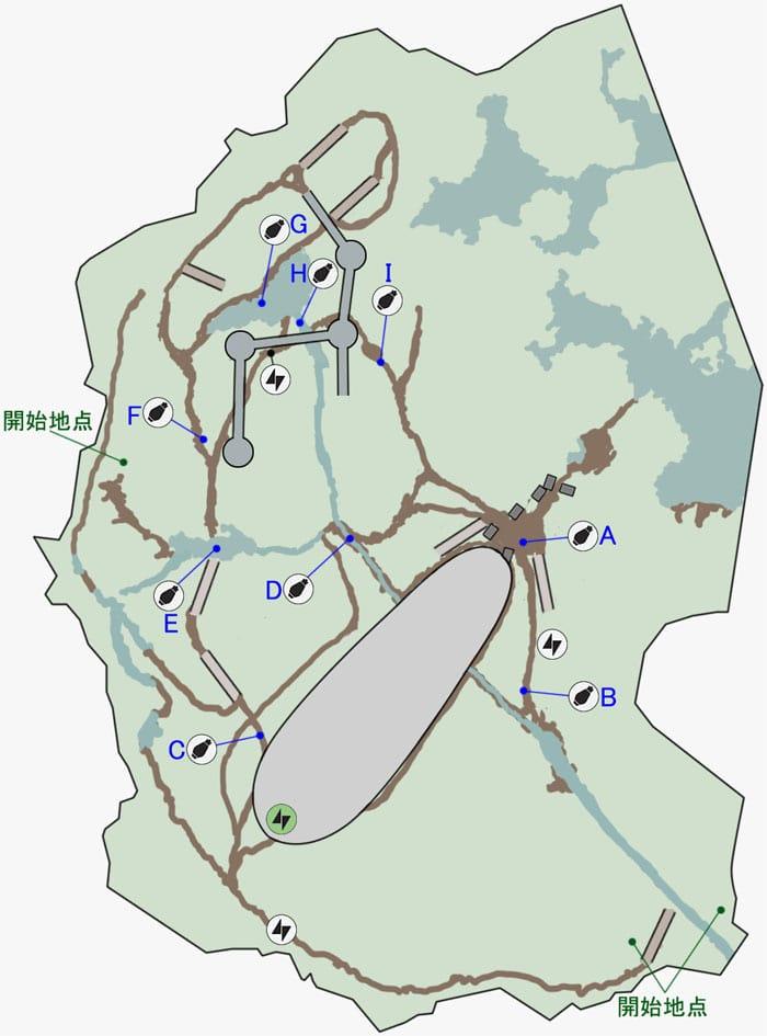 ドロップゾーンの湿地帯の墜落地点のマップ